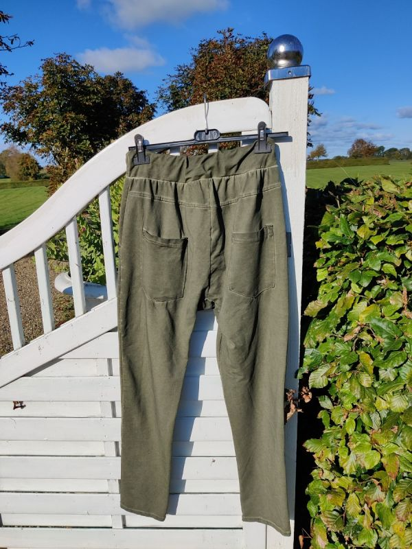 Blød bomulds pants, Safari Grøn