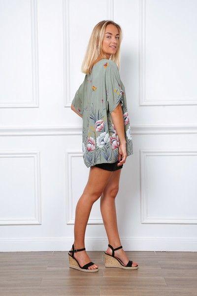 Khaki print bluse, Selma