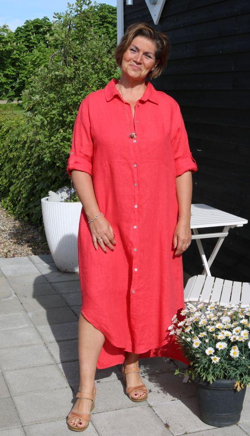 Rød hør skjorte kjole, Tulle