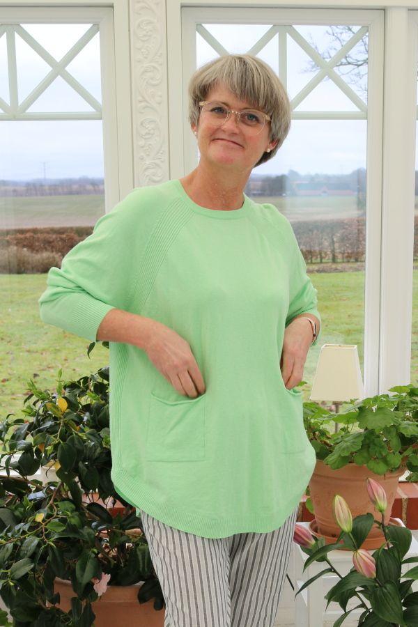 Agnethe stik bluse, Lysegrøn