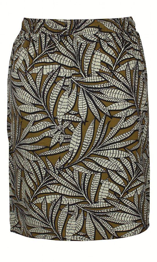 Olivengrøn nederdel med print, Farina