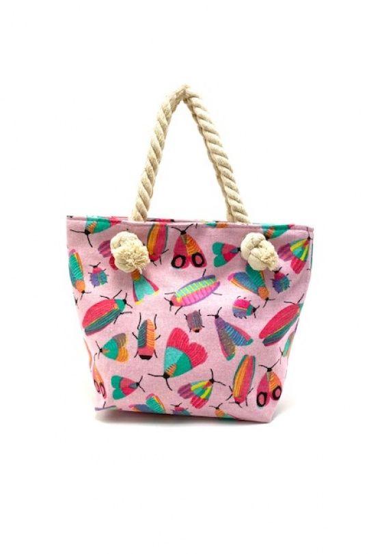 Tekstil håndtaske pink med print