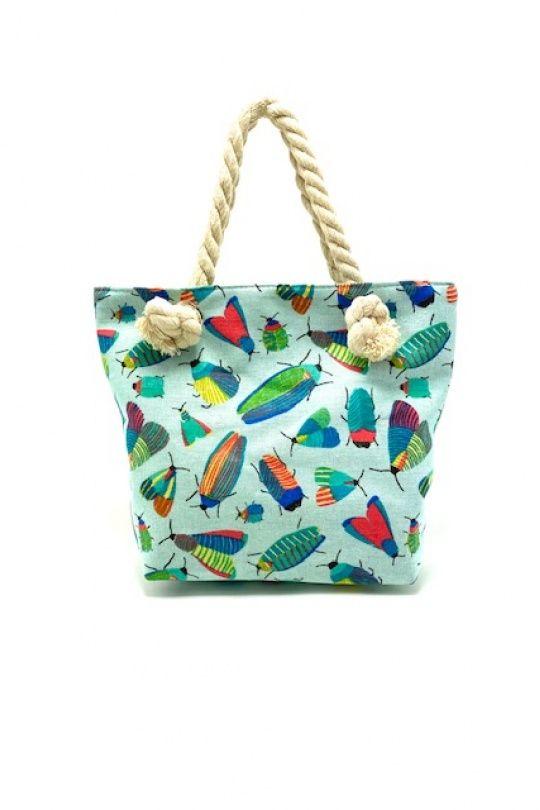 Tekstil håndtaske blå med print