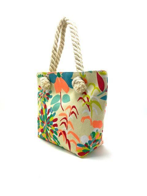 Tekstil håndtaske beige med blomster